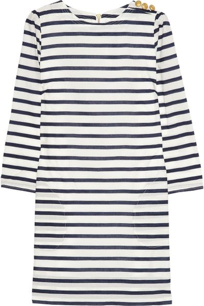 Aubin & Wills Swarthmore Striped Cotton-Poplin Mini Dress in Black (white) - Lyst