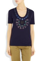 Burberry Prorsum Embellished Cotton Tshirt in Blue (navy) - Lyst