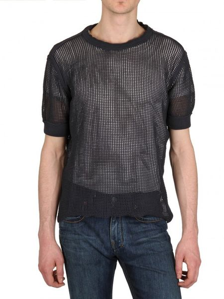 Dolce & Gabbana Cotton Mesh Net Sweater in Blue for Men
