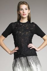 Lela Rose Flower-Lace Top - Lyst