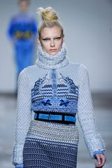 Mary Katrantzou Fall 2012 Chunky Knit Embroidered Turtleneck Sweater In Pale Blue