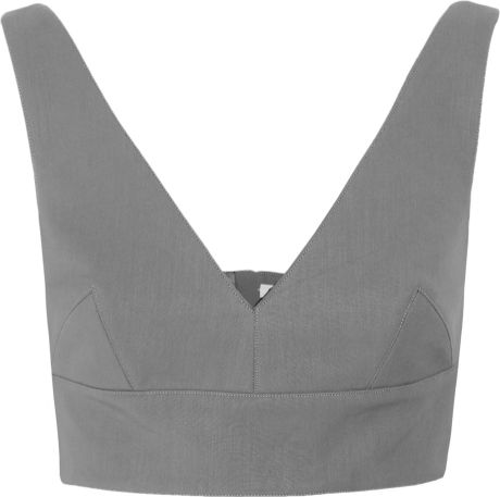Miu Miu Cropped Cotton Top in Gray (steel) - Lyst