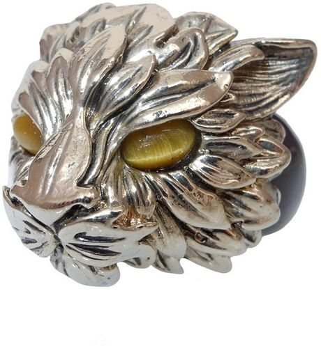 Roberto Cavalli Fox and Swarovski Ring in Silver - Lyst