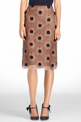 Tory Burch Thomad Crochet Skirt in Brown - Lyst