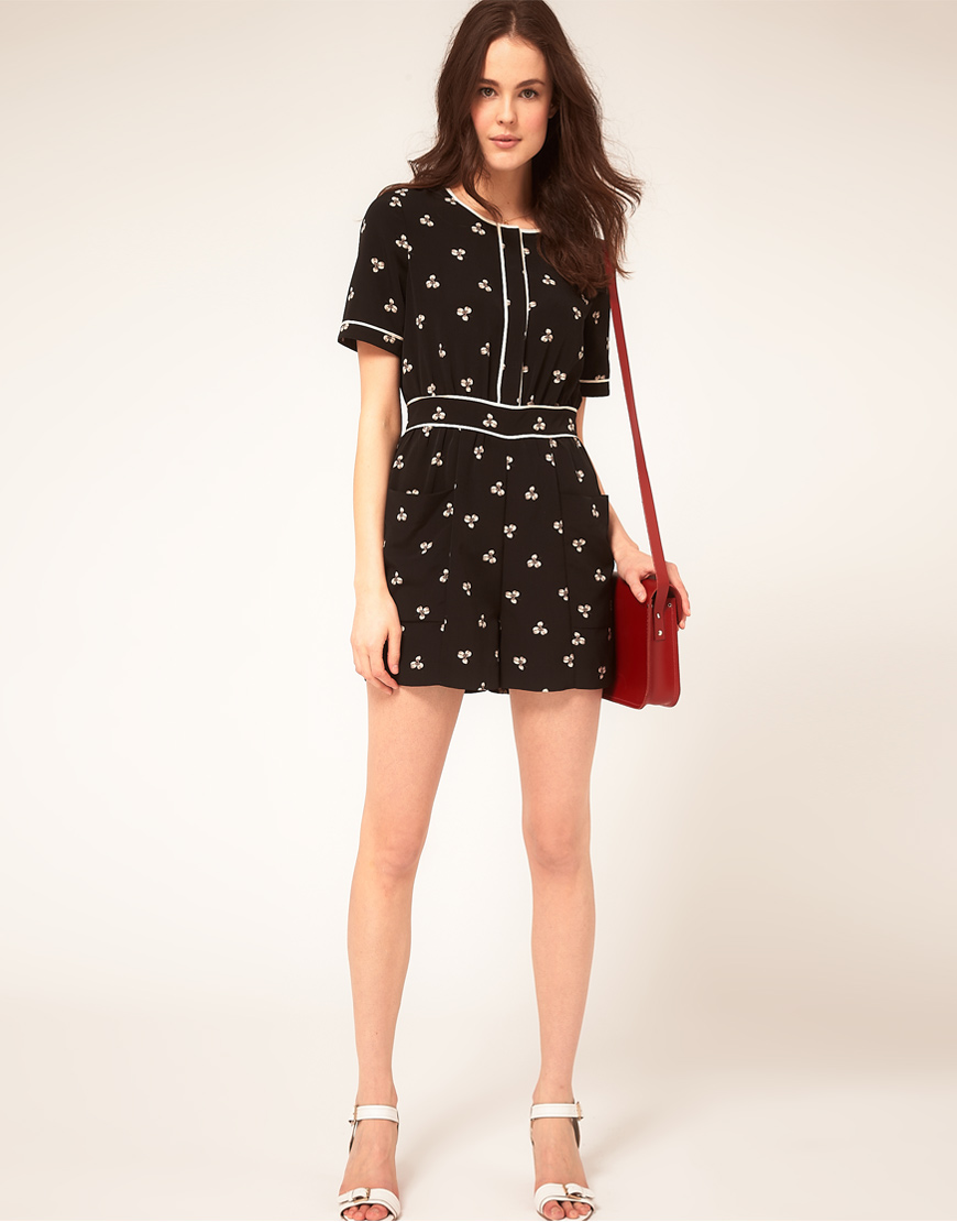 search for authentic new style shop for luxury Whistles Black Clover Print Playsuit