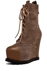 Acne Avalanche Lace Up Wedge Bootie in Taupe - Lyst