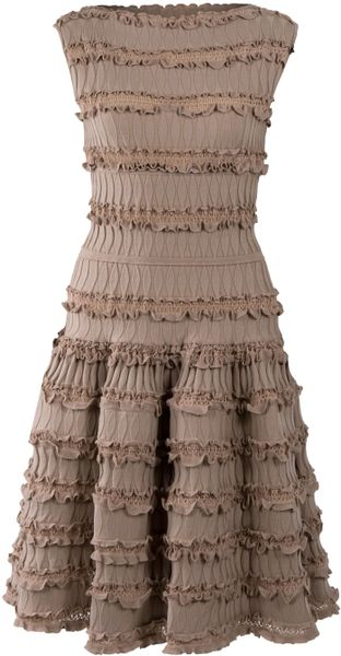 Alaïa Frill Knit Dress in Beige (nude) - Lyst