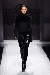 Alberta Ferretti Fall 2012 Black Maxi Skirt With Leather Patchwork - Lyst