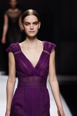 Alberta Ferretti Fall 2012 Deep VNeck Lace Gown  in Purple - Lyst