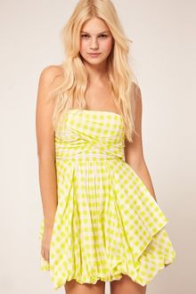 Asos Bandeau Dress In Check With Bubble Hem - Lyst