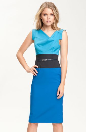 Black Halo Jackie Colorblock Pencil Dress - Lyst