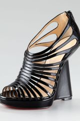 Christian Louboutin Disco Queen Patent Cage Wedge - Lyst