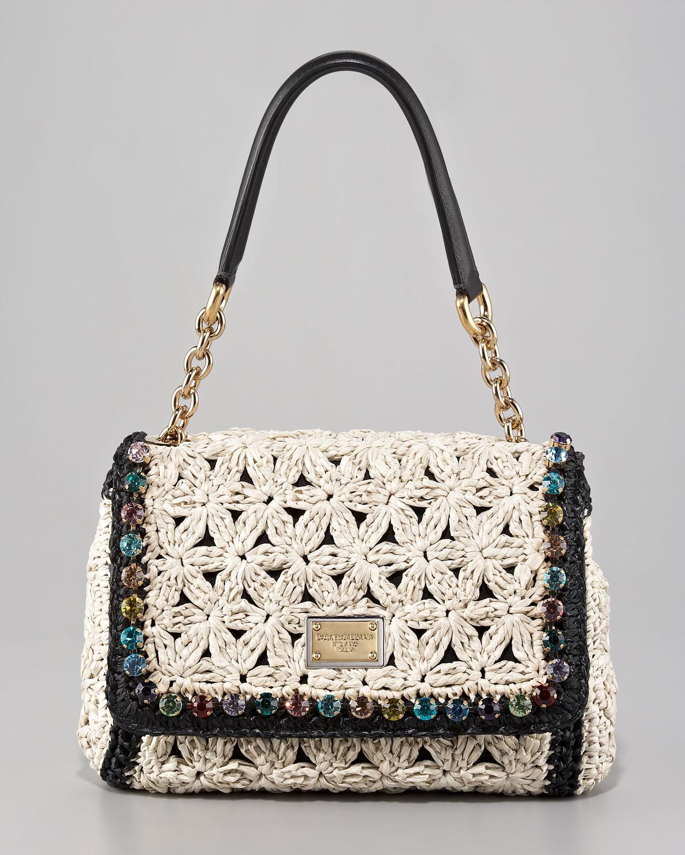 Lyst - Dolce   Gabbana Miss Charles Jeweled Crochet Shoulder Bag in ... a4f8b07275