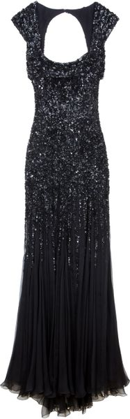Elie Saab Backless Sequin Gown in Black (red)
