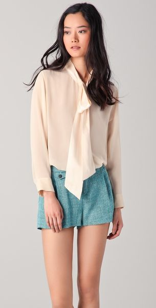 Equipment Meredyth Contrast Blouse in Beige - Lyst