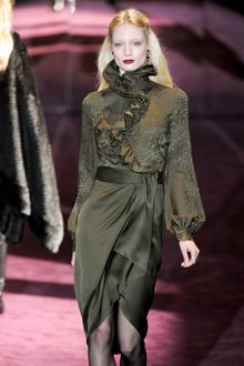 Gucci Fall 2012 Asymmetrical High Collar Blouse With Frills And Pre-Rafaelite Puffed Sleeves In Dark Green - Lyst