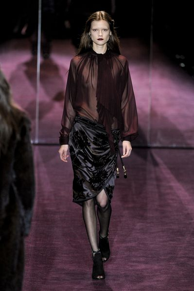 Gucci Fall 2012 Long Sleeve SeeThroughBlouse with Oversized Shawl Collar in Purple  in Black - Lyst