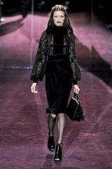 Gucci Fall 2012 Black See-Through Blouse with Pre-Raphaelite Sleeves, High Velvet Collar in Floral Print  - Lyst