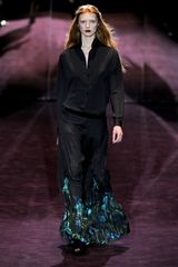 Gucci Fall 2012 Printed Hem Pleated Maxi Skirt in Black - Lyst
