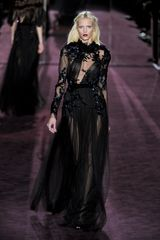 Gucci Fall 2012 Long Sleeve Asymmetrical Front Embellished Evening Gown With Deep Decolletage, Beading And Layered Maxi Skirt In Black  - Lyst