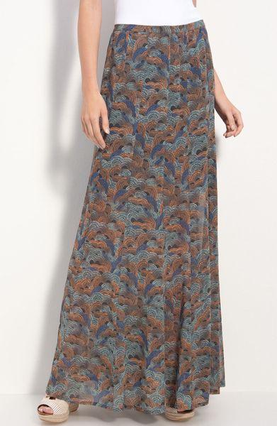 hinge 174 sheer chiffon maxi skirt in blue navy india ink