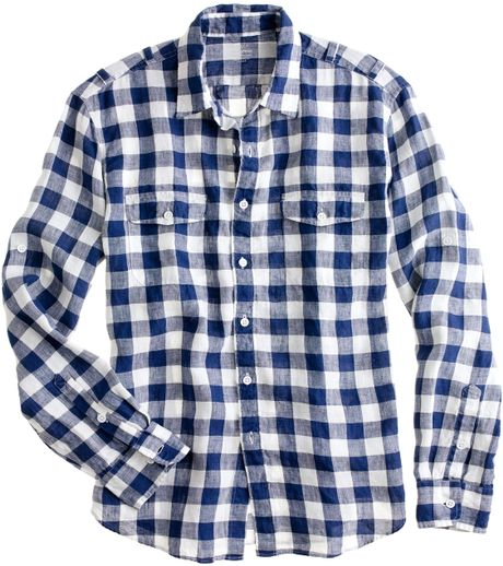 Irish linen camp shirt in large gingham in blue for for Irish linen dress shirts