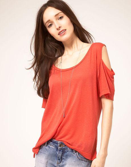 Lna Lna Open Shoulder T Shirt In Linen Mix Jersey