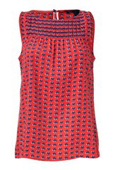Marc By Marc Jacobs Flame Scarlet Heart Print Silk Top - Lyst