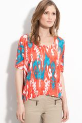Michael by Michael Kors Scoop Neck Print Tee - Lyst
