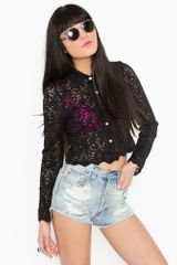 Nasty Gal Shadow Lace Blouse - Lyst