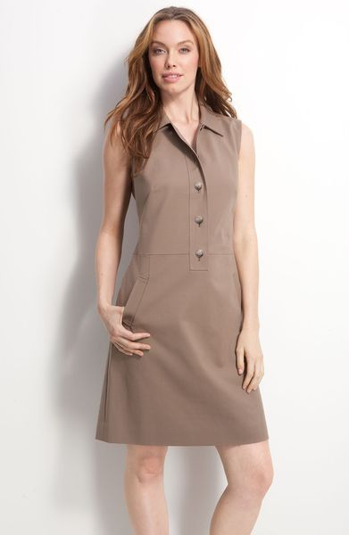 Nordstrom Collection Harlie Tessuto Shirtdress in Brown (stone fossil) - Lyst