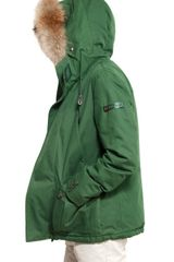 Peuterey Fur Hood Techical Cotton Down Jacket in Green for Men - Lyst