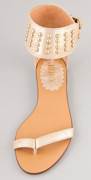 Red Valentino Studded Flat Sandals In Gold Lyst