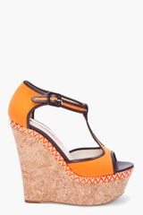 Rupert Sanderson Orange Kalit Wedges - Lyst