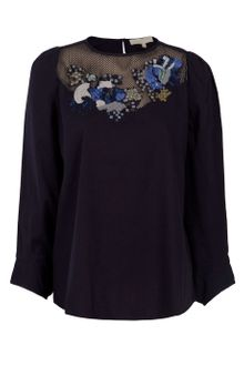 Vanessa Bruno Embroidered Cotton Blouse - Lyst