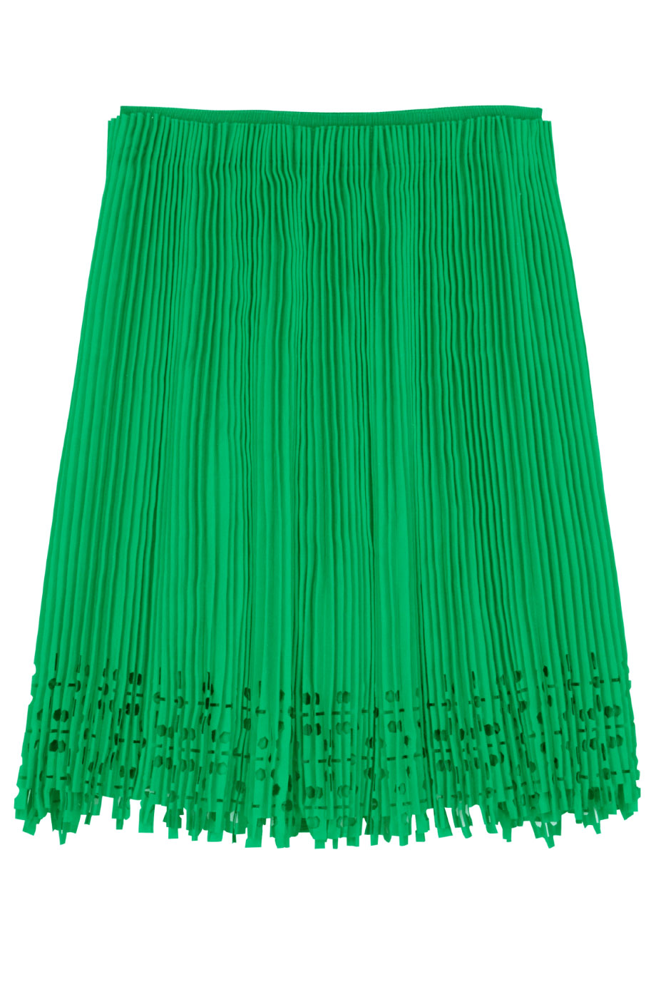 willow pleated cutout skirt in green emerald lyst