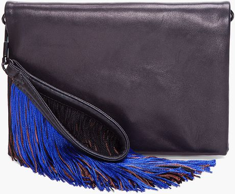 3.1 Phillip Lim Lynus Envelope Clutch with Fringe in Black - Lyst