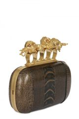 Alexander Mcqueen Knuckle Box Gold Ostrich Clutch in Brown (black) - Lyst
