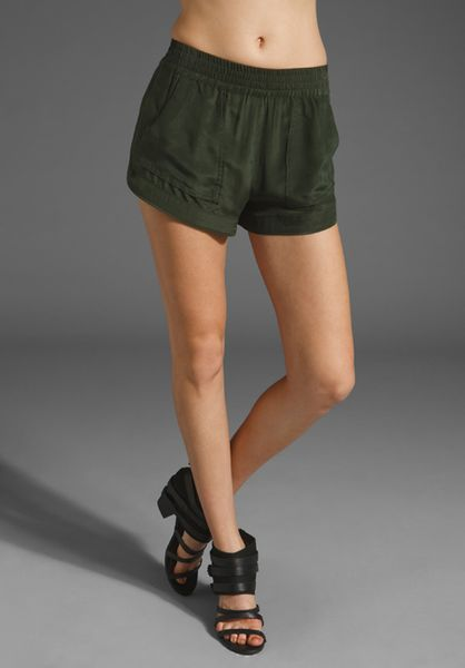Cut25 Washed Crepe De Chine Short in Green (military) - Lyst