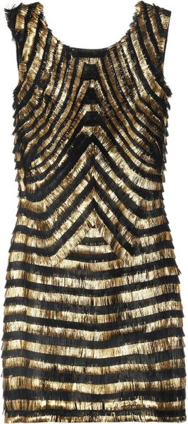 Gucci Metallic-striped Fringed Leather Dress - Lyst