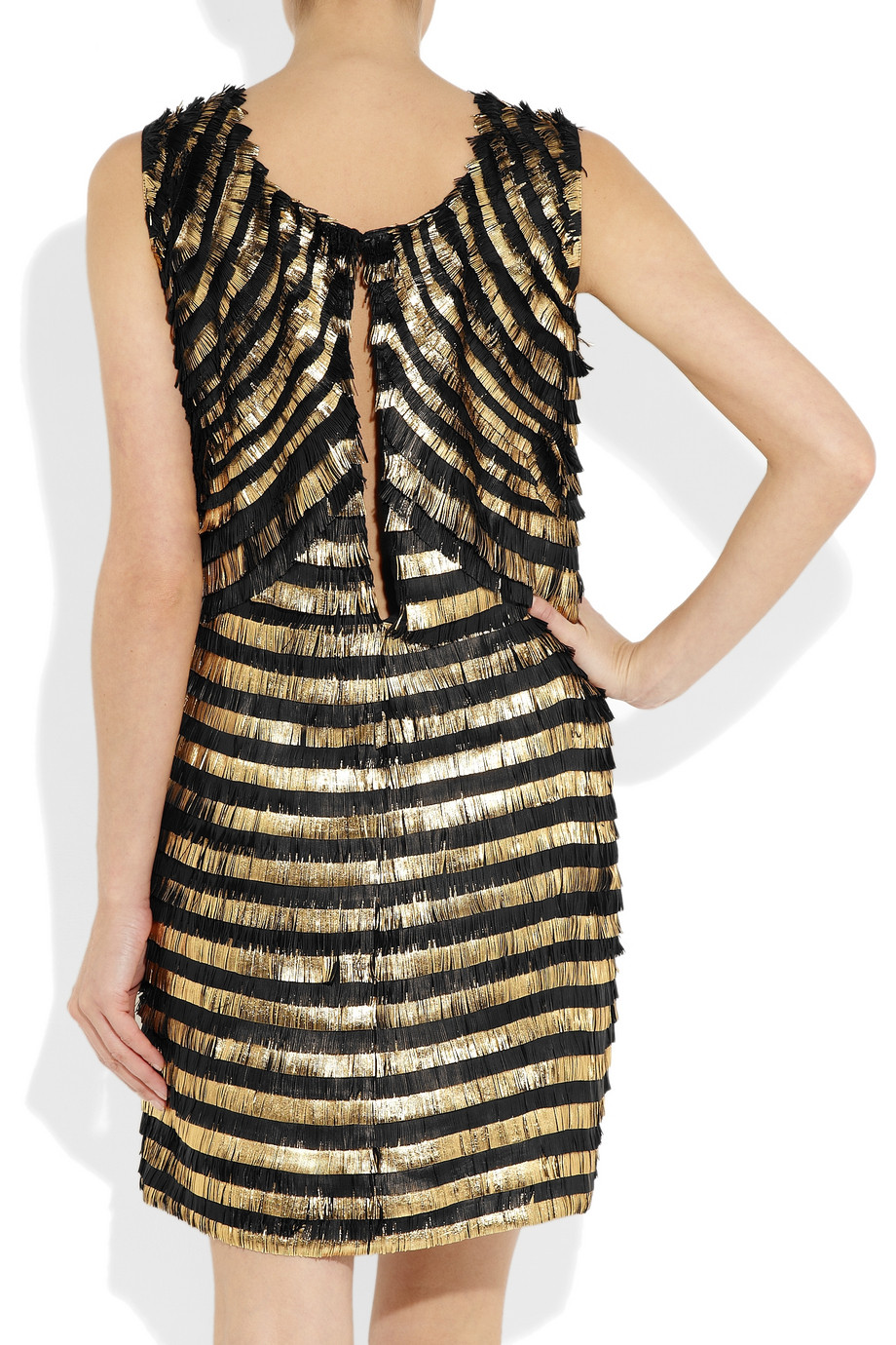 Gucci Metallic Striped Fringed Leather Dress In Black Lyst