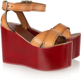 Isabel Marant Zora Leather Lacquered-wedge Sandals - Lyst