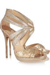 Jimmy Choo Garland Glitter-finish Leather Sandals - Lyst