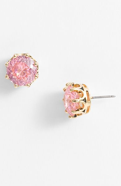 Juicy Couture Ocean Couture Oversized Solitaire Stud Earrings in Pink (pink/ gold) - Lyst