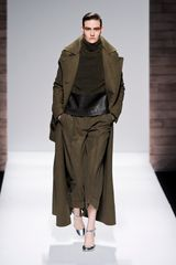 Max Mara Fall 2012 Long Wool Double Breasted Coat With Oversized Collar And Lapel In Khaki - Lyst