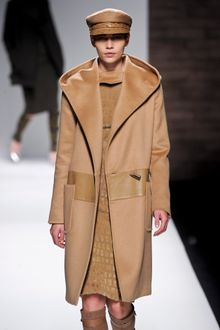 Max Mara Fall 2012 Long Wool Coat With Oversized Hood, Patch Pockets, Leather Insert And Toggle Closure In Camel  - Lyst