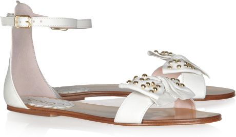 Red Valentino Bowembellished Leather Sandals in White - Lyst