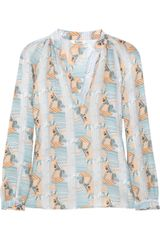 Tucker Printed Silk Blouse - Lyst