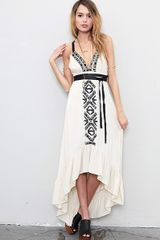 Twelfth Street By Cynthia Vincent Embroidered Leather Strap Cascade Dress in Beige (cream) - Lyst