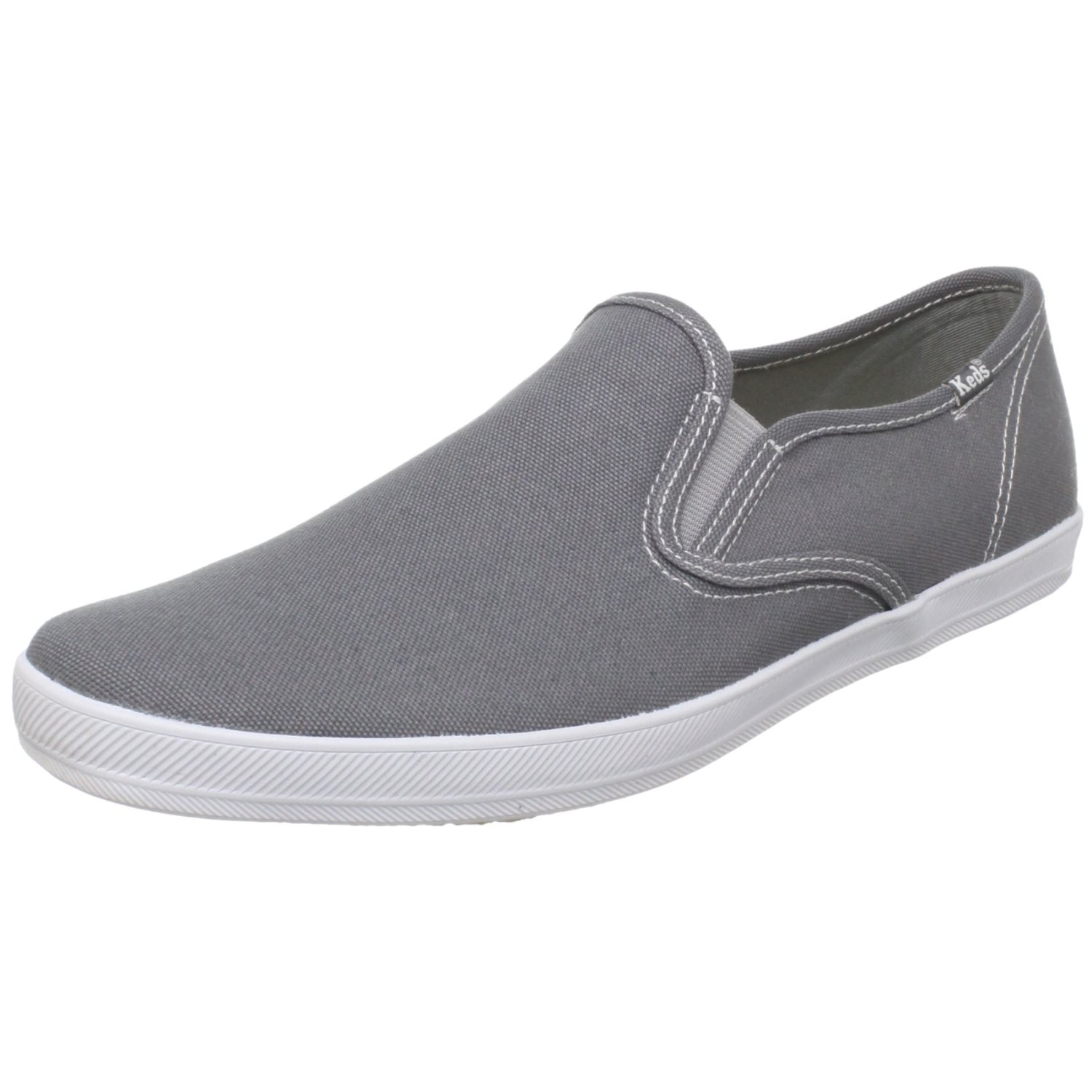 Grey Canvas Slip On Shoes Mens